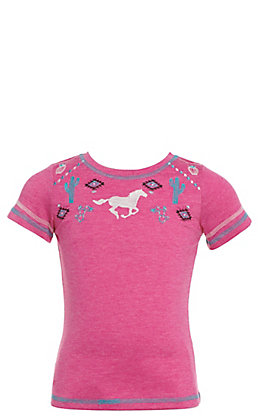 Cowgirl Hardware Toddlers' Pink with Turquoise Southwest Horse Embroidery Short Sleeve Tee