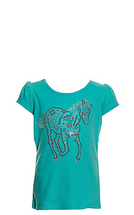 Cowgirl Hardware Toddlers' Turquoise Sugar Horse Short Sleeve T-Shirt