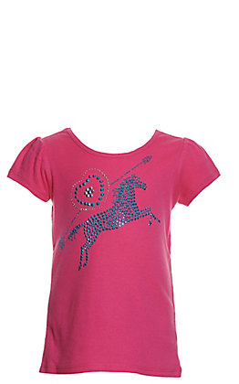 Cowgirl Hardware Toddlers' Pink Rhinestud Horse and Heart with Arrow Short Sleeve T-Shirt