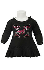 Cowgirl Hardware Girl's Black with Glitter Horse Long Sleeve Dress