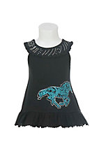 Cowgirl Hardware Girl's Black with Turquoise Horse and Rhinestones Sleeveless Dress