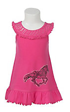 Cowgirl Hardware Girl's Pink with Paisley Horse and Rhinestone Accent Sleeveless Dress