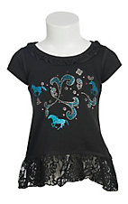 Cowgirl Hardware Infant & Toddler Girls Black with Glitter Horses Short Sleeve Dress
