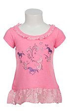 Cowgirl Hardware Infant's Pink with Shimmering Horse Design Short Sleeve Dress