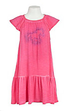 Cowgirl Hardware Girl's Pink with Studded Horse Cap Sleeve Dress