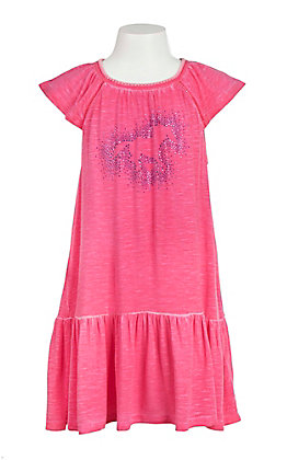 Cowgirl Hardware Girls' Pink with Studded Horse Cap Sleeve Dress