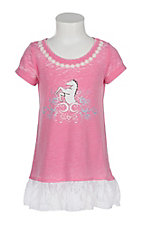 Cowgirl Hardware Toddler Pink Lace Horse S/S Dress