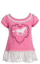 Cowgirl Hardware Girls Horse Lace Short Sleeve Dress