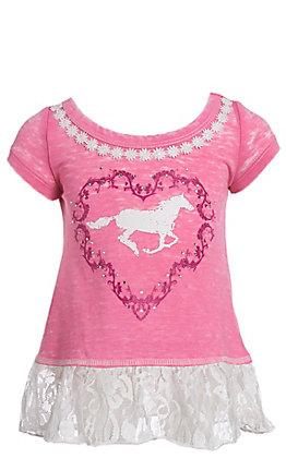 Cowgirl Hardware Girls Horse Lace Short Sleeve Dress