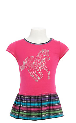 Cowgirl Hardware Girls' Pink and Serape with Studded Horse Short Sleeve Dress