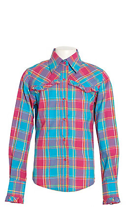Lore Mae Girls Turquoise and Hot Pink Plaid Long Sleeve Western Shirt