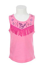 Cowgirl Hardware Girl's Pink with Embroidered Horse and Fringe Detail Sleeveless Shirt