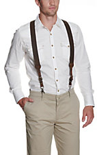 Nocona Brown Basket Weave Suspenders