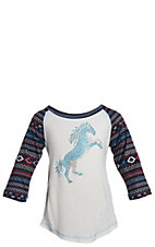 Cowgirl Hardware Girl's White with Rhinestud Horse 3/4 Aztec Raglan Sleeves Tee