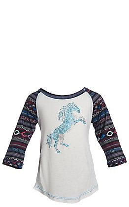 Cowgirl Hardware Girls' White with Rhinestud Horse 3/4 Aztec Raglan Sleeve T-Shirt