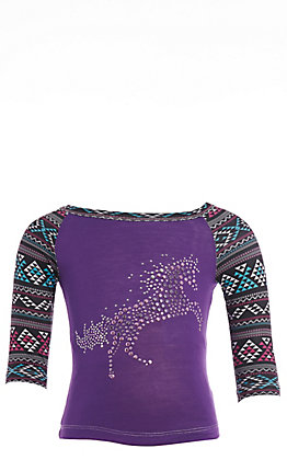 Cowgirl Hardware Girls' Toddler Purple Crystal Horse with Aztec Long Sleeve Tee