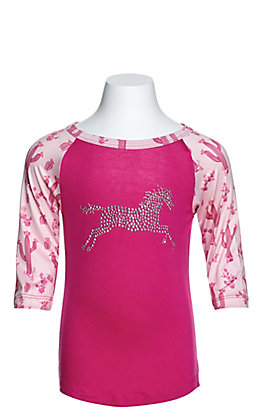 Cowgirl Hardware Toddlers' Pink with Rhinestud Horse and Light Pink Cactus 3/4 Sleeves Tee