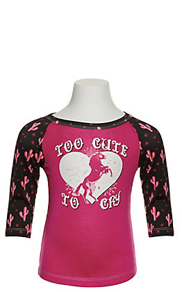 Cowgirl Hardware Toddlers' Pink Too Cute to Cry with Cactus Print 3/4 Sleeve T-Shirt