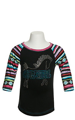 Cowgirl Hardware Girl's Black with Crystal Bling Horse Graphic Raglan Sleeve T-Shirt
