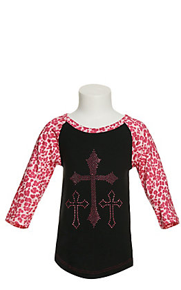 Cowgirl Hardware Girl's Black and Hot Pink Bling Crosses with Leopard Raglan Sleeves T-Shirt