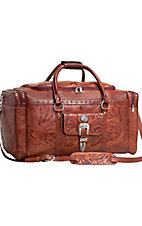 American West Retro Romance Brown Hand Tooled Leather Star Concho Luggage/Rodeo Bag