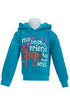 Cowgirl Hardware Girls Turquoise Best Friends Logo Pullover Hoodie