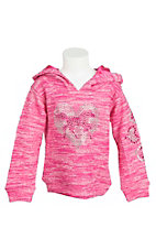 Cowgirl Hardware Girl's Pink with Crystal Heart Long Sleeve Pull Over Hoodie