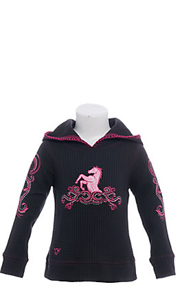 Cowgirl Hardware Infant/Toddler Girl's Filigree Horse Hood Black Waffle Pullover