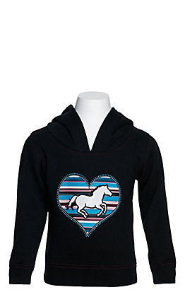 Cowgirl Hardware Toddlers' Black with Turquoise Serape Heart and Horse Hooded Sweatshirt