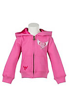 Cowgirl Hardware Girls Pink with Winged Heart Zip Hooded Sweatshirt Jacket