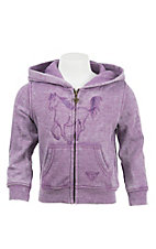 Cowgirl Hardware Girl's Purple with Purple Embroidered Horse Long Sleeve Zip Up Hoodie