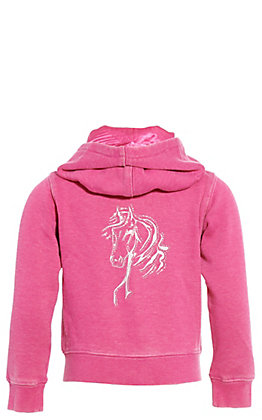 Cowgirl Hardware Toddlers' Pink Bella Horse Full Zip Hooded Jacket