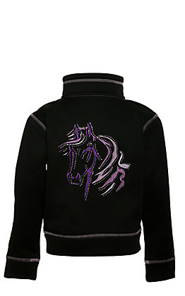 Cowgirl Hardware Toddlers' Black with Purple Horse Embroidery and Bling Long Sleeve Zip Up Jacket