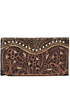 American West Ladies Rosewood Collection Tri-Fold Wallet