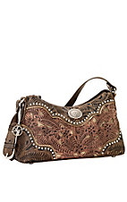 American West Rosewood Collection Zip-Top Shoulder Bag