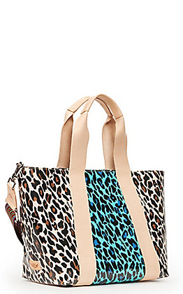 Consuela Mona Tan, Black and Turquoise Leopard Print Carryall Tote
