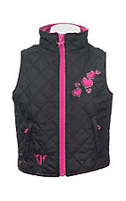 Cowgirl Hardware Girl's Black Quilted with Embroidered Hearts Sleeveless Vest