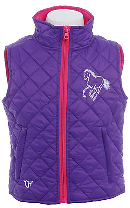 Cowgirl Hardware Infant/Toddler Girl's Cactus Horse Purple Quilted Vest