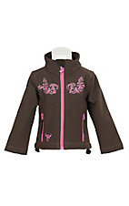 Cowgirl Hardware Toddler Brown with Pink Scroll Embroidery & Rhinestones Long Sleeve Bonded Jacket