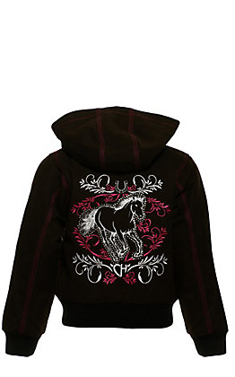 Cowgirl Hardware Toddlers' Brown with Pink and White Spirit Horse Embroidery Hooded Canvas Jacket