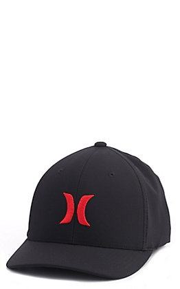 Hurly DriFit Black With Red Logo Cap