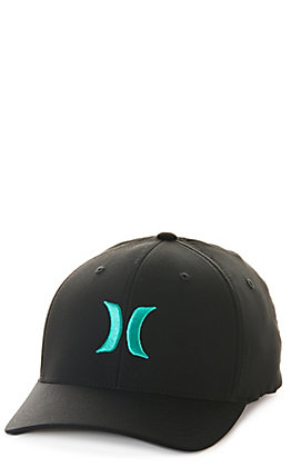 Hurley Dri-FIT One & Only Black with Turquoise Logo FlexFit Cap