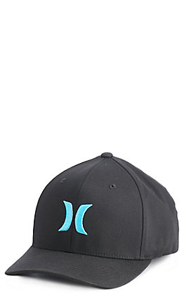 Hurley Men's Black With Blue Logo Cap