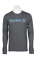 Hurley Men's One & Only Push Through Black Heather Long Sleeve Logo Tee