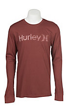 Hurley Men's One & Only Push Through Rust Heather Long Sleeve Logo Tee
