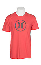 Hurley Men's Red Dri-Fit Circle Icon Graphic S/S T-Shirt