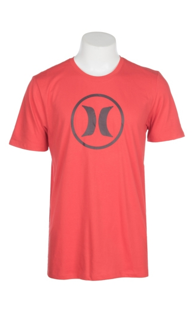 Discount Hurley Men's Red Dri-Fit Circle Icon Graphic S/S T-Shirt for cheap