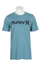 Hurley Men's Aqua Obsidian Dri-Fit Logo Graphic S/S T-Shirt