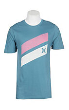 Hurley Men's Aqua Stone Icon Slash Graphic S/S T-Shirt