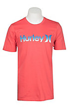 Hurley Men's One & Only Push Through Gradient Red Short Sleeve Logo Tee